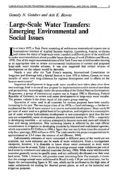 Large-Scale Water Transfer: Emerging Environmental and Social Issues (Water resources development) (Genady Golubev, Asit Biswas)