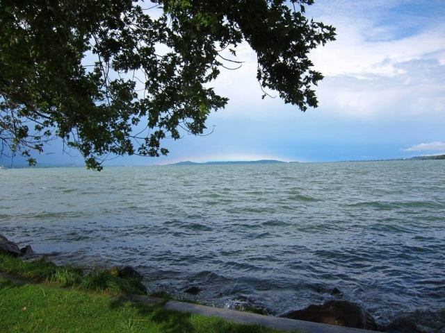 Cristina Apetrei: from the harbour in Balatonszemes, with a small rainbow on the horizon; probably 2014